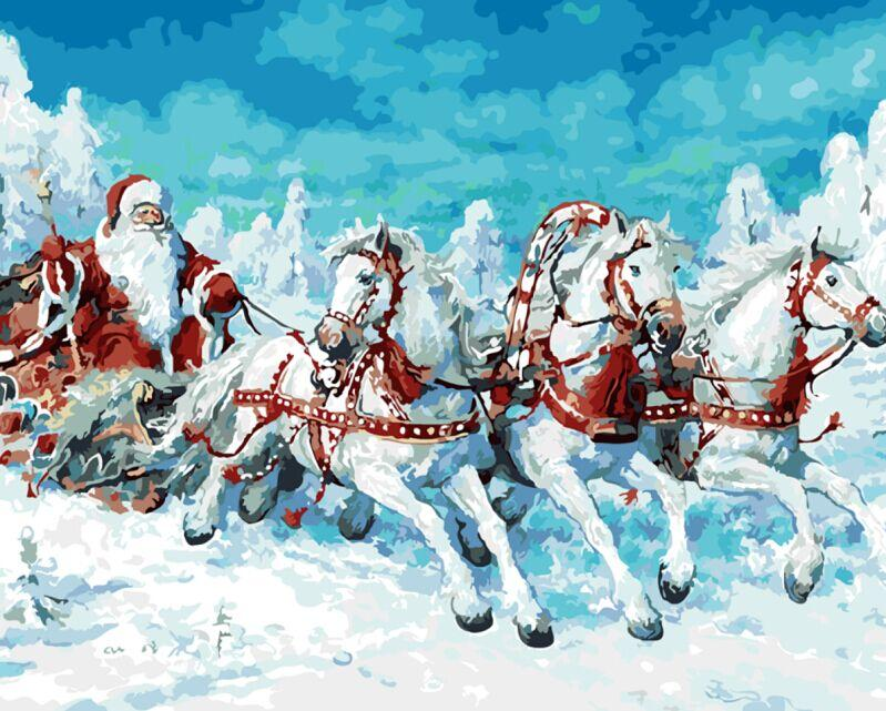 Santa Claus's Horses- Painting By Numbers - Jenra Store
