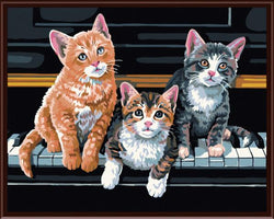 3 Cats and Piano - Painting By Numbers - Jenra Store
