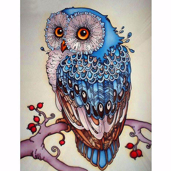 Owl in Blue - 5D™ Diamond Painting Kit - Jenra Store