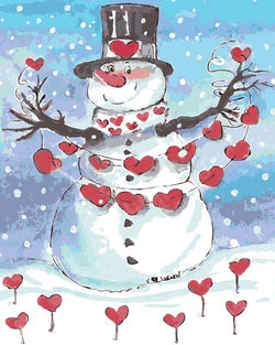Romantic Snowman Painting By Numbers Jenra Store A Store For Creative People