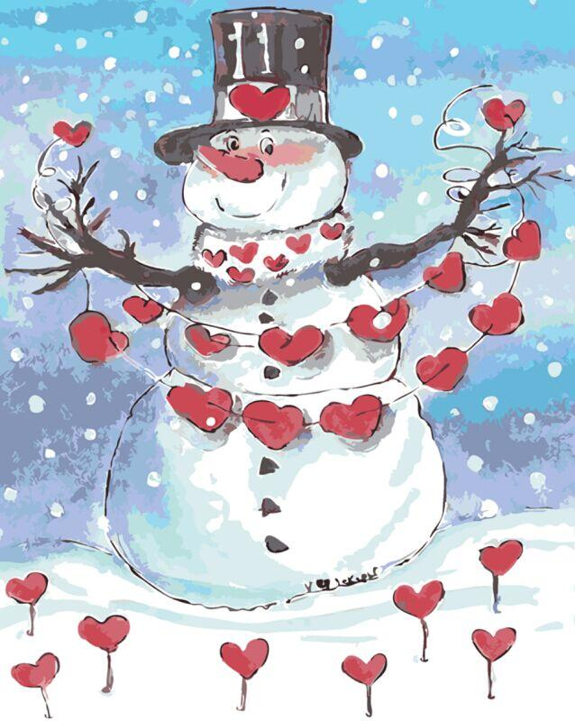 Romantic Snowman- Painting By Numbers - Jenra Store
