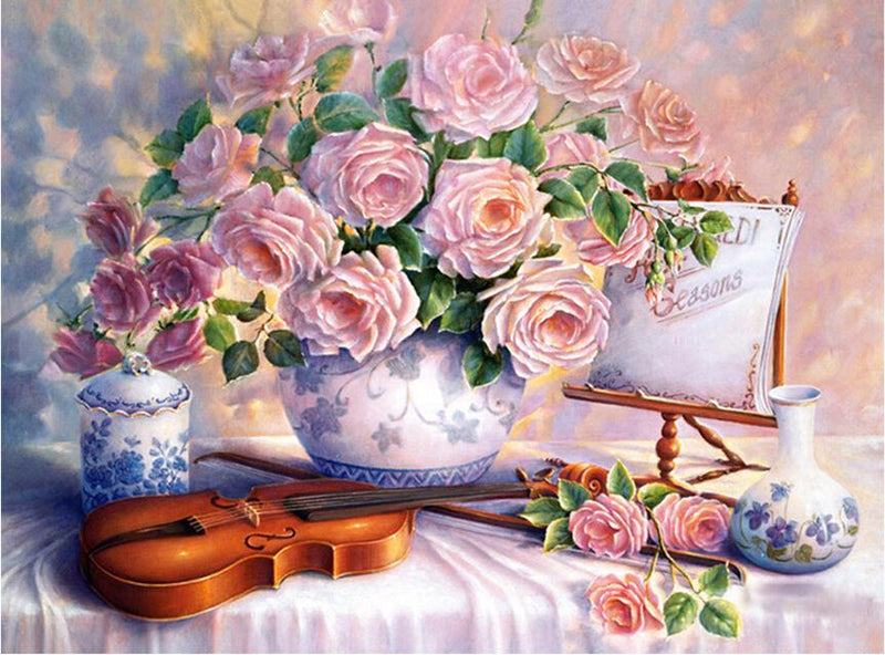 Flowers & Violin - Painting By Numbers - Jenra Store
