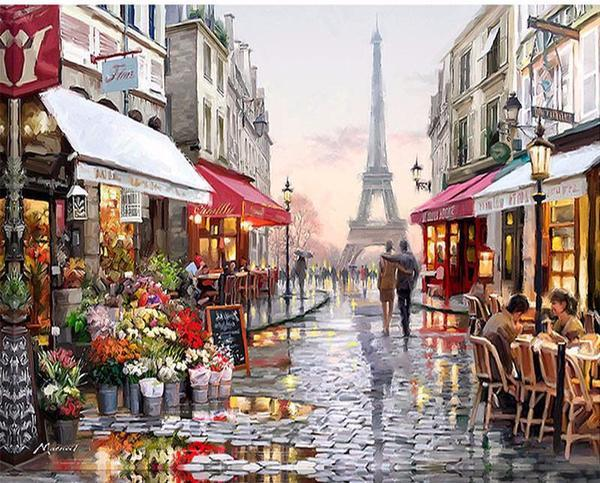 Romantic Paris Landscape- Painting By Numbers - Jenra Store