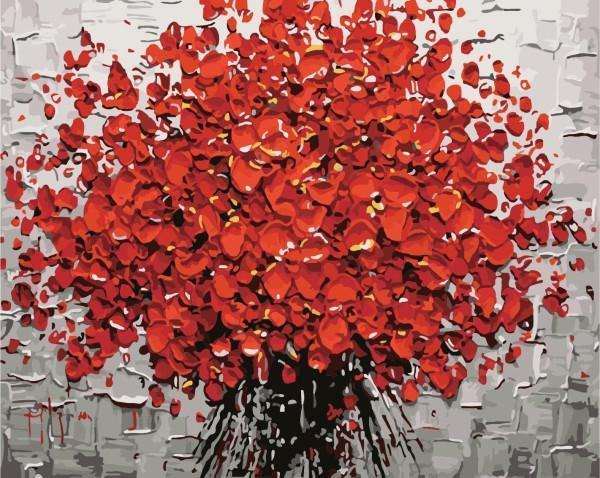 Red Flower- Painting By Numbers - Jenra Store
