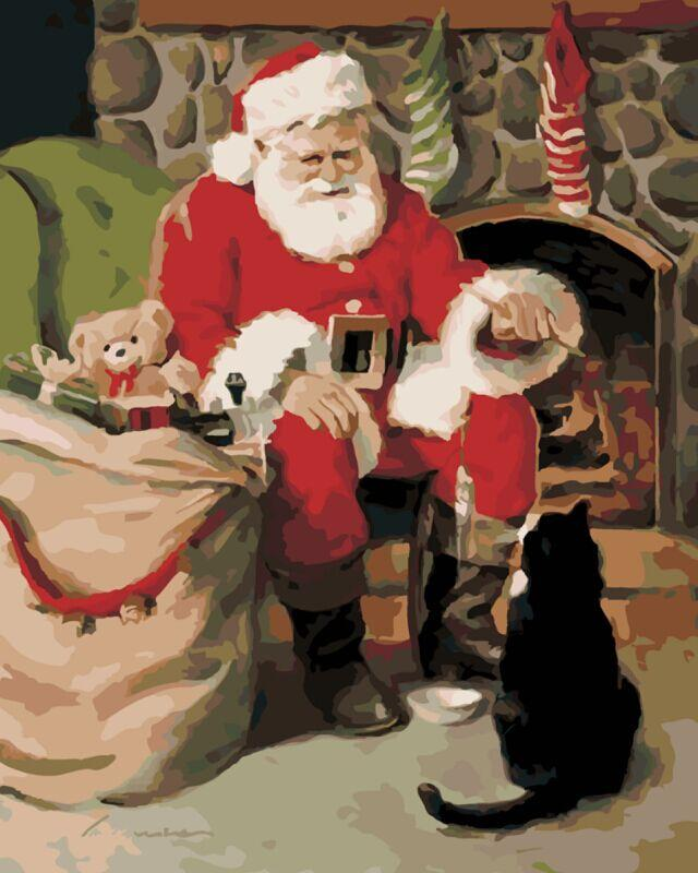 Santa and Black Cat- Painting By Numbers - Jenra Store