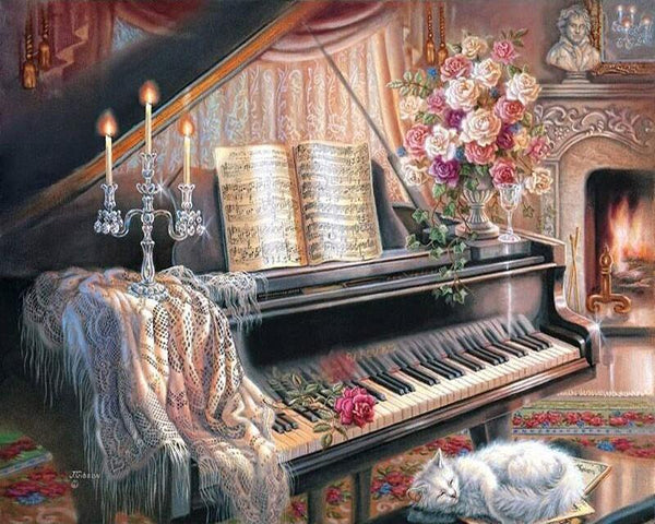 Sleeping Cat & Piano- Painting By Numbers - Jenra Store
