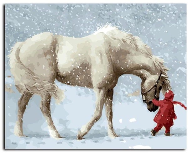 White Horse and Little Red- Painting By Numbers - Jenra Store