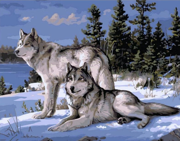 Wolf Couple- Painting By Numbers - Jenra Store