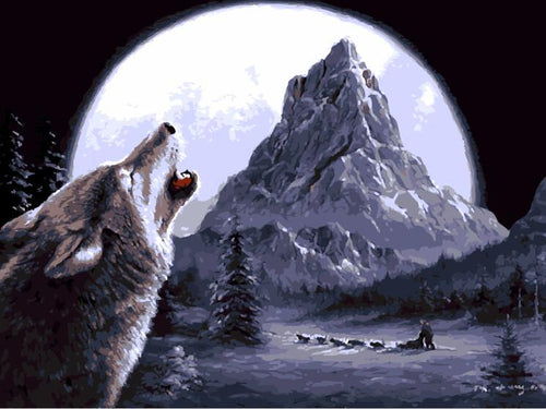 Wolf Howling At Moon- Painting By Numbers - Jenra Store