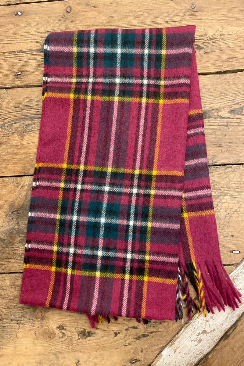 Bronte By Moon Kildwick Pink Wool Scarf - The Mercantile London