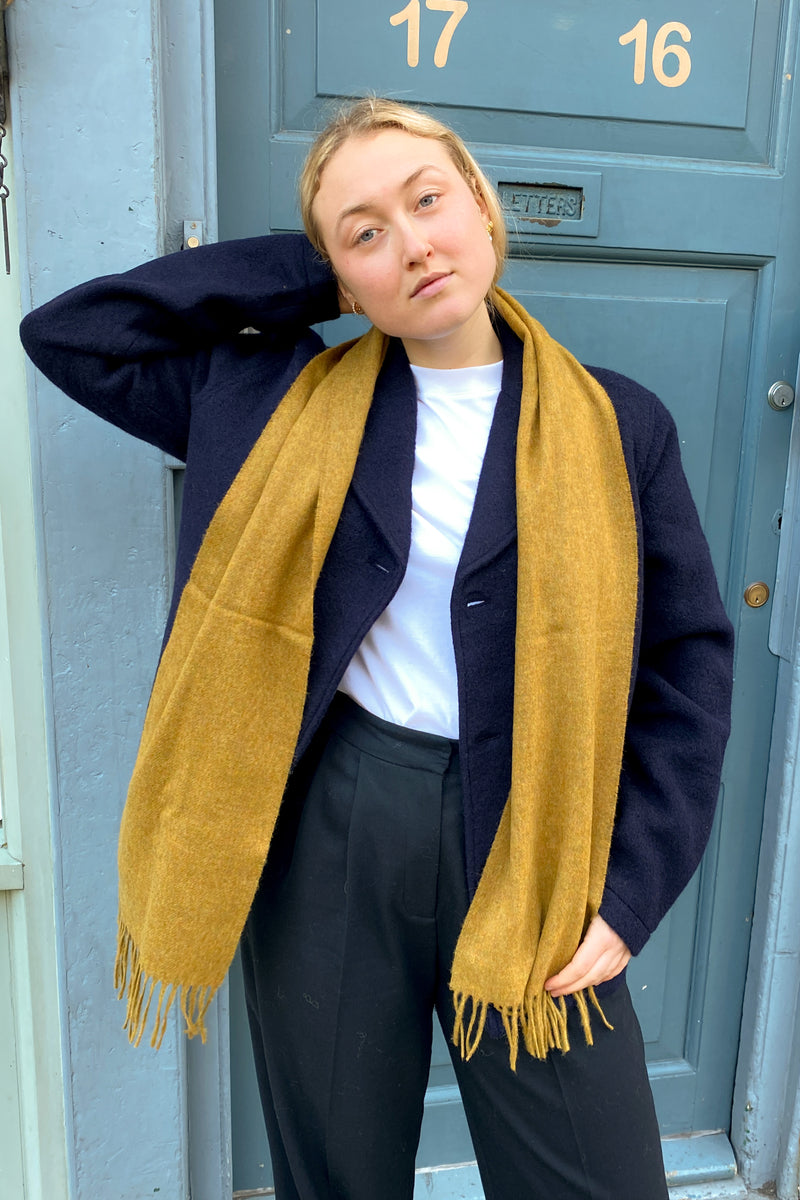 Bronte By Moon Plain Gold Wool Scarf - The Mercantile London
