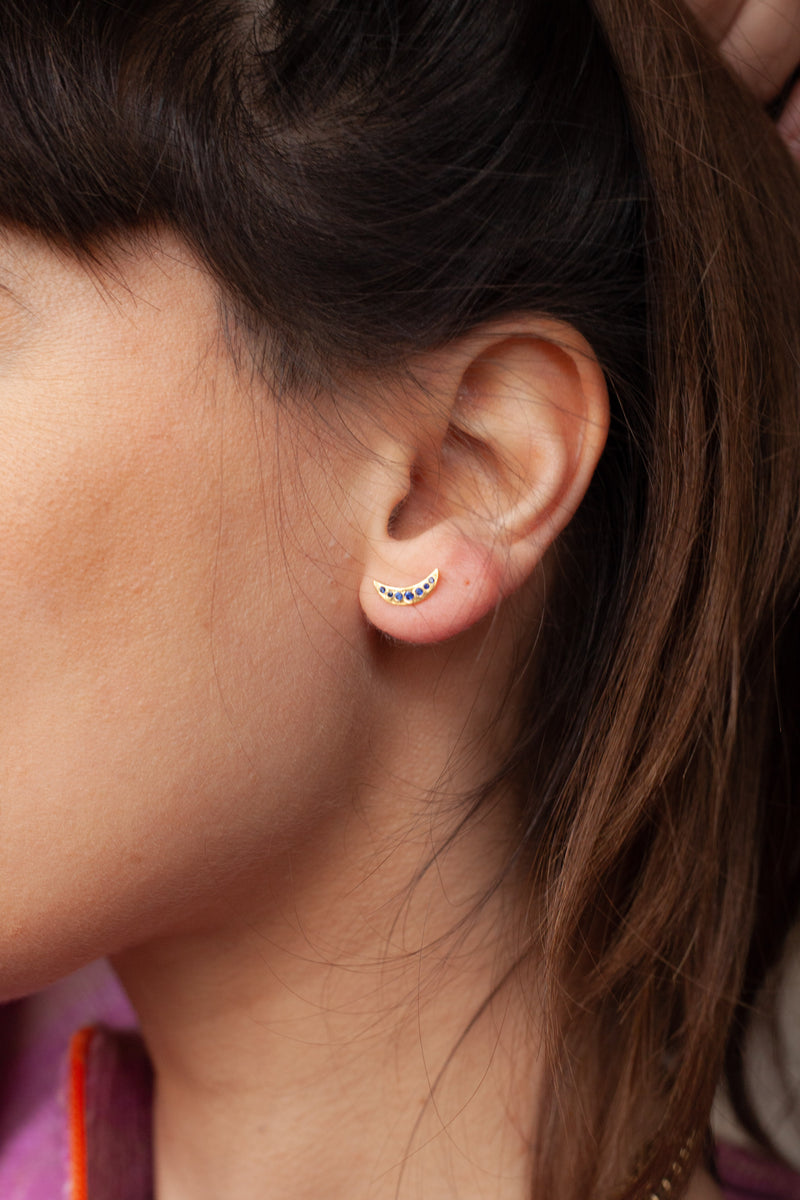 Anna + Nina Single Nightfall Navy Gold Stud - The Mercantile London
