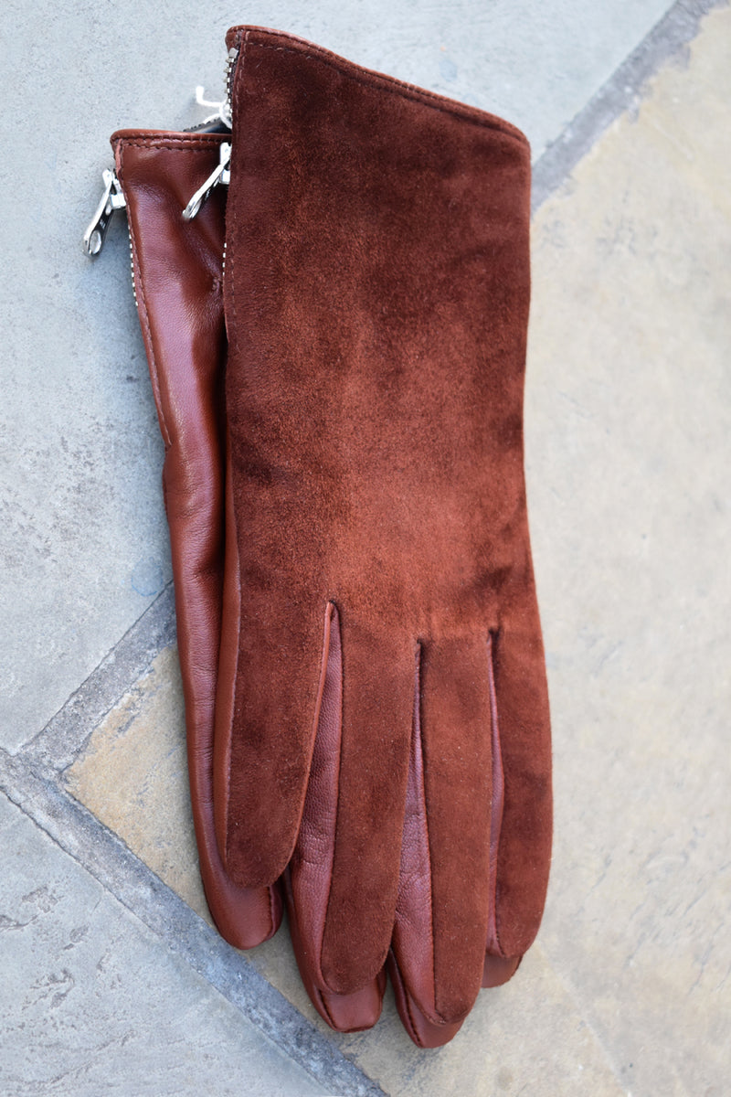Markberg Kath Cognac Suede Leather Gloves - The Mercantile London
