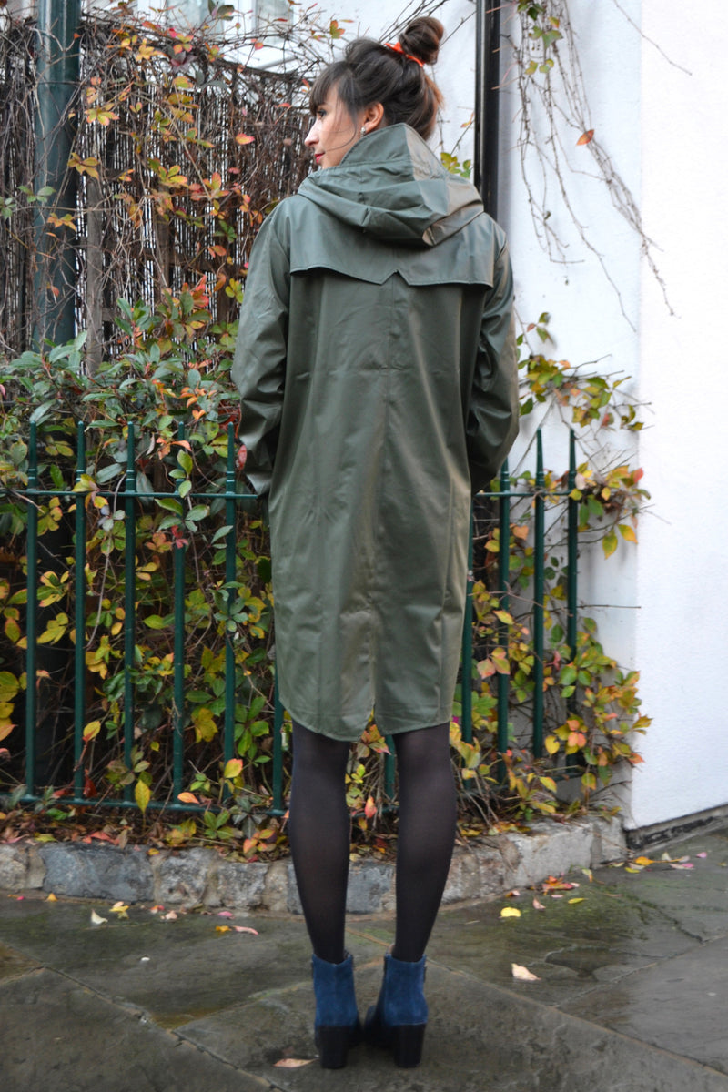 Rains Long Green Jacket - The Mercantile London