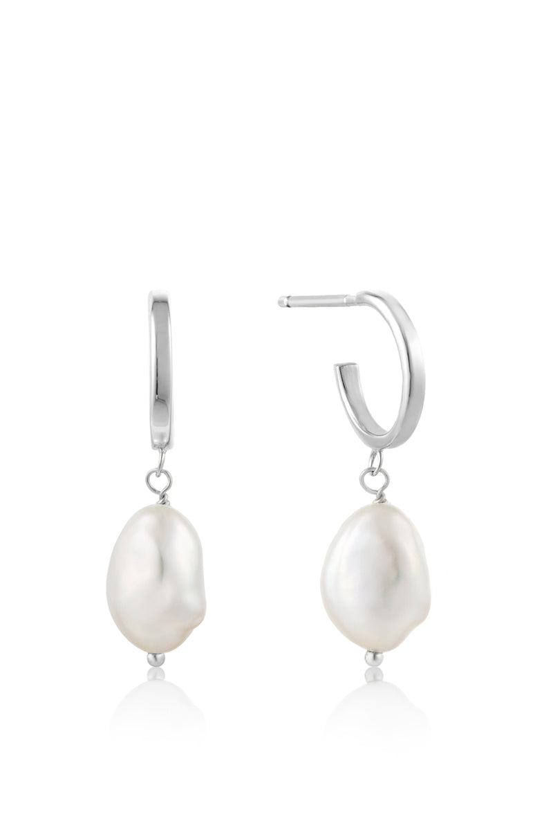 Ania Haie Pearl Mini Hoop Silver Earrings - The Mercantile London