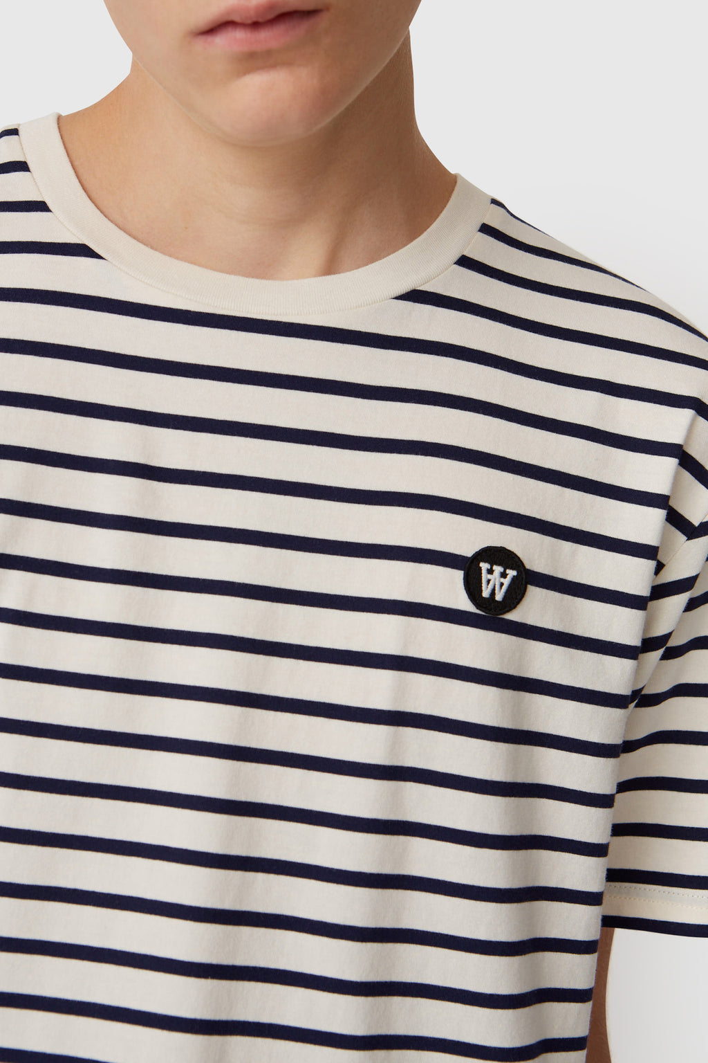 Wood Wood Ace Off White & Navy Stripe T-Shirt