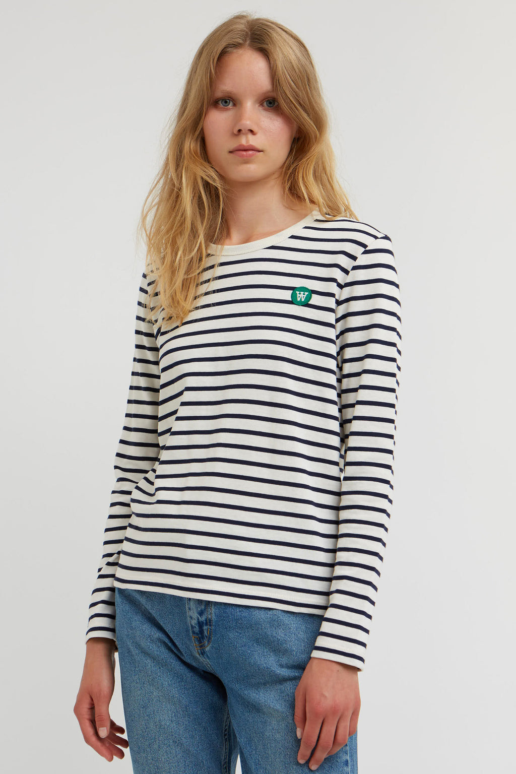 Wood Wood Moa Off White & Navy Top