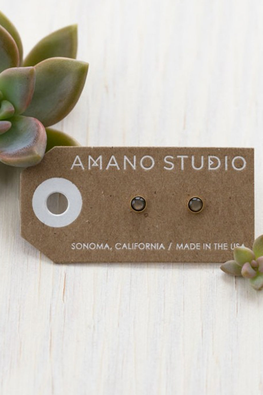 Amano Black Pearl Studs - The Mercantile London