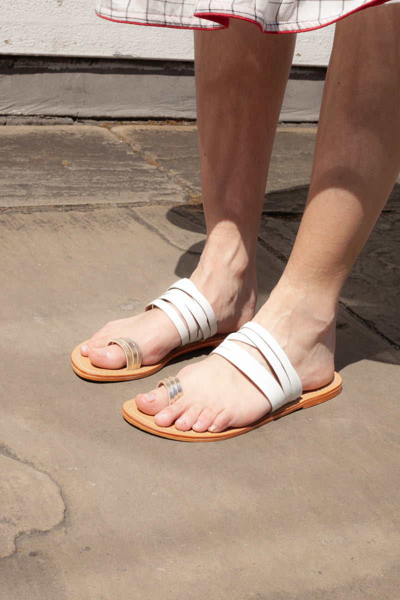 M.A.B.E Halle White Leather Sandals - The Mercantile London