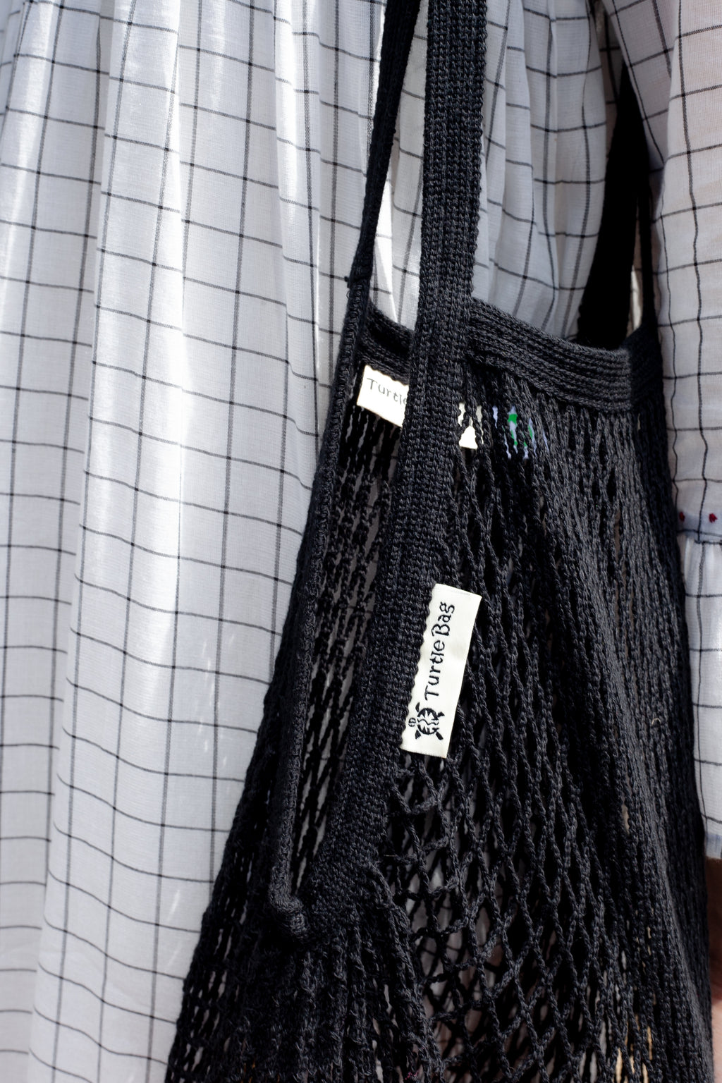 Turtle Bags Black Organic String Bag - The Mercantile London