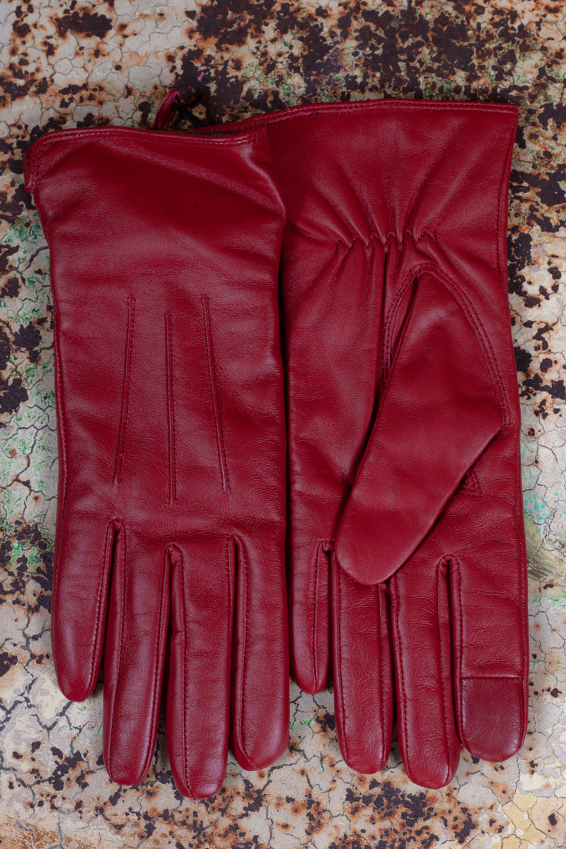 Markberg Carianna Red Leather Gloves - The Mercantile London