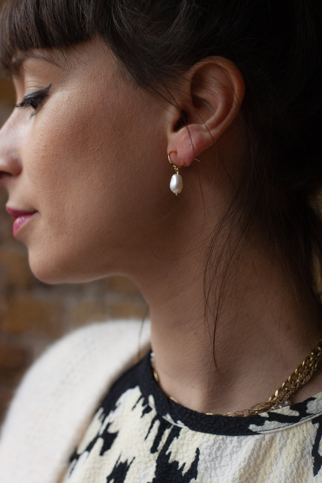 Ania Haie Pearl Mini Hoop Gold Earrings - The Mercantile London