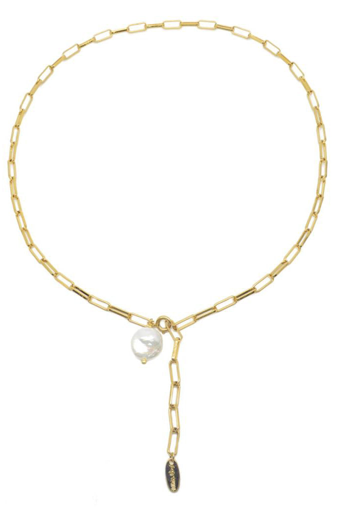 White Freshwater Pearl Link Chain Gold Necklace - The Mercantile London
