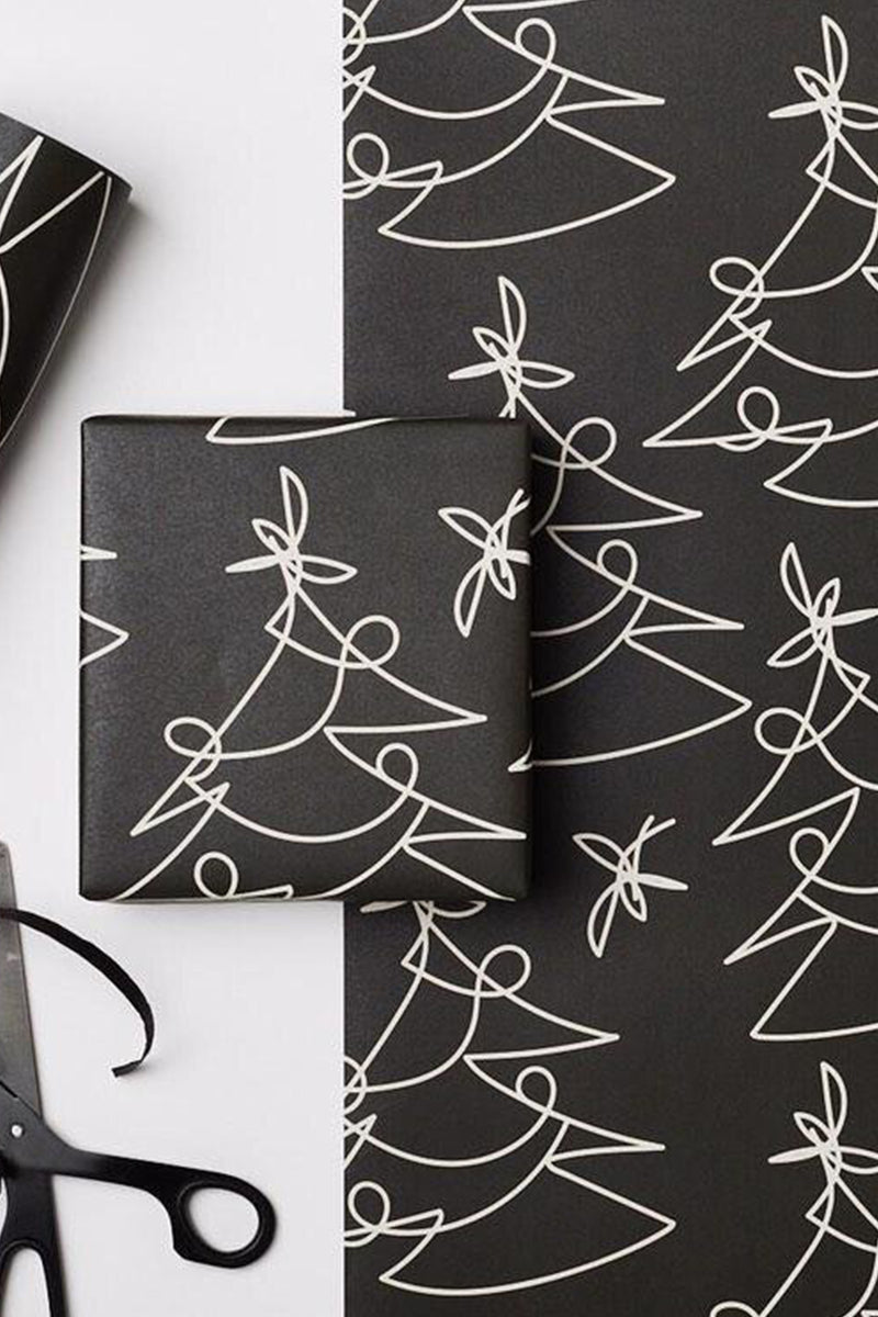 Black Tree Lines Gift Wrap - The Mercantile London