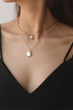 White Contrast Chain Pearl Drop Necklace - The Mercantile London