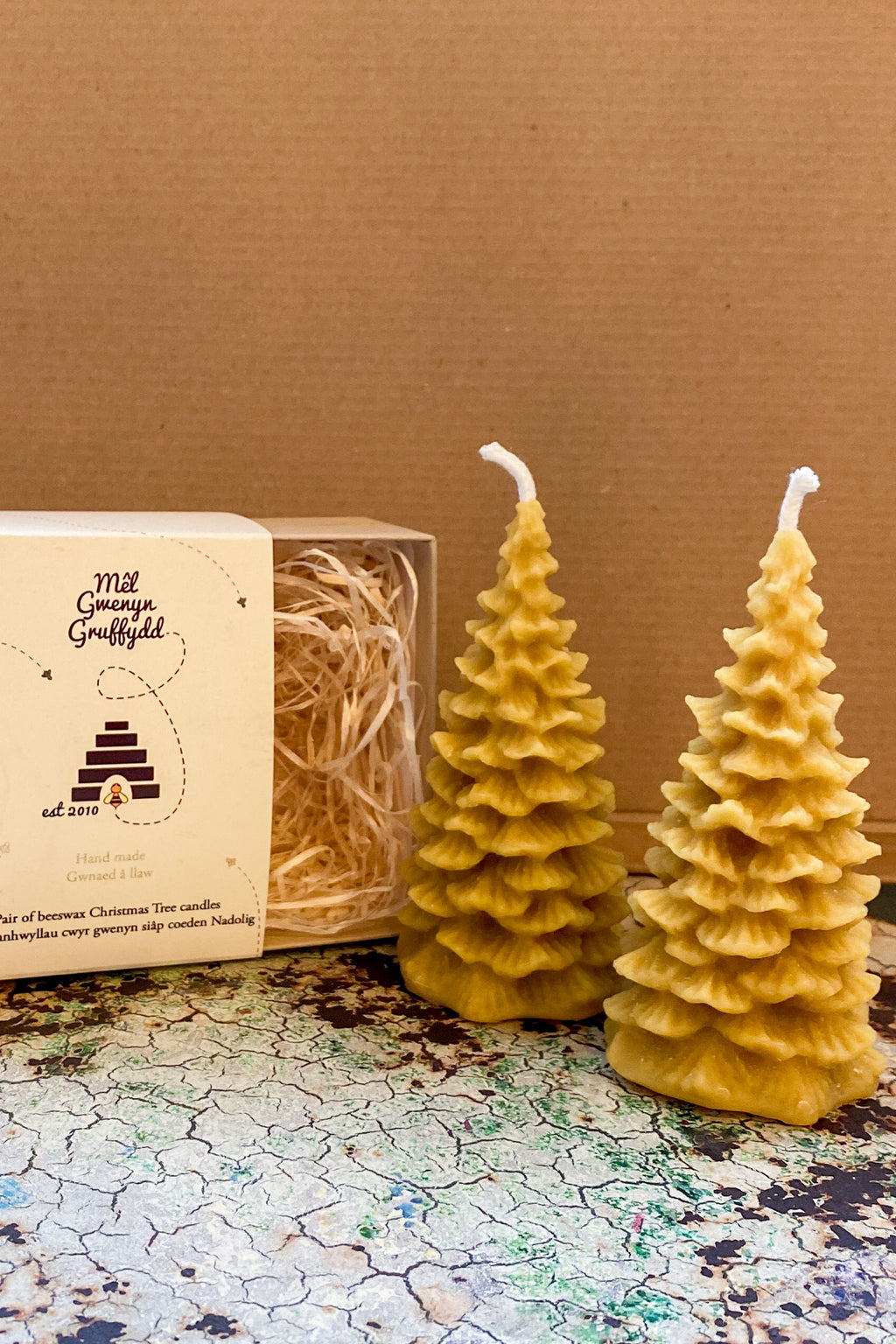 Gwenyn Gruffydd Welsh Beeswax Christmas Tree Candle Gift Set