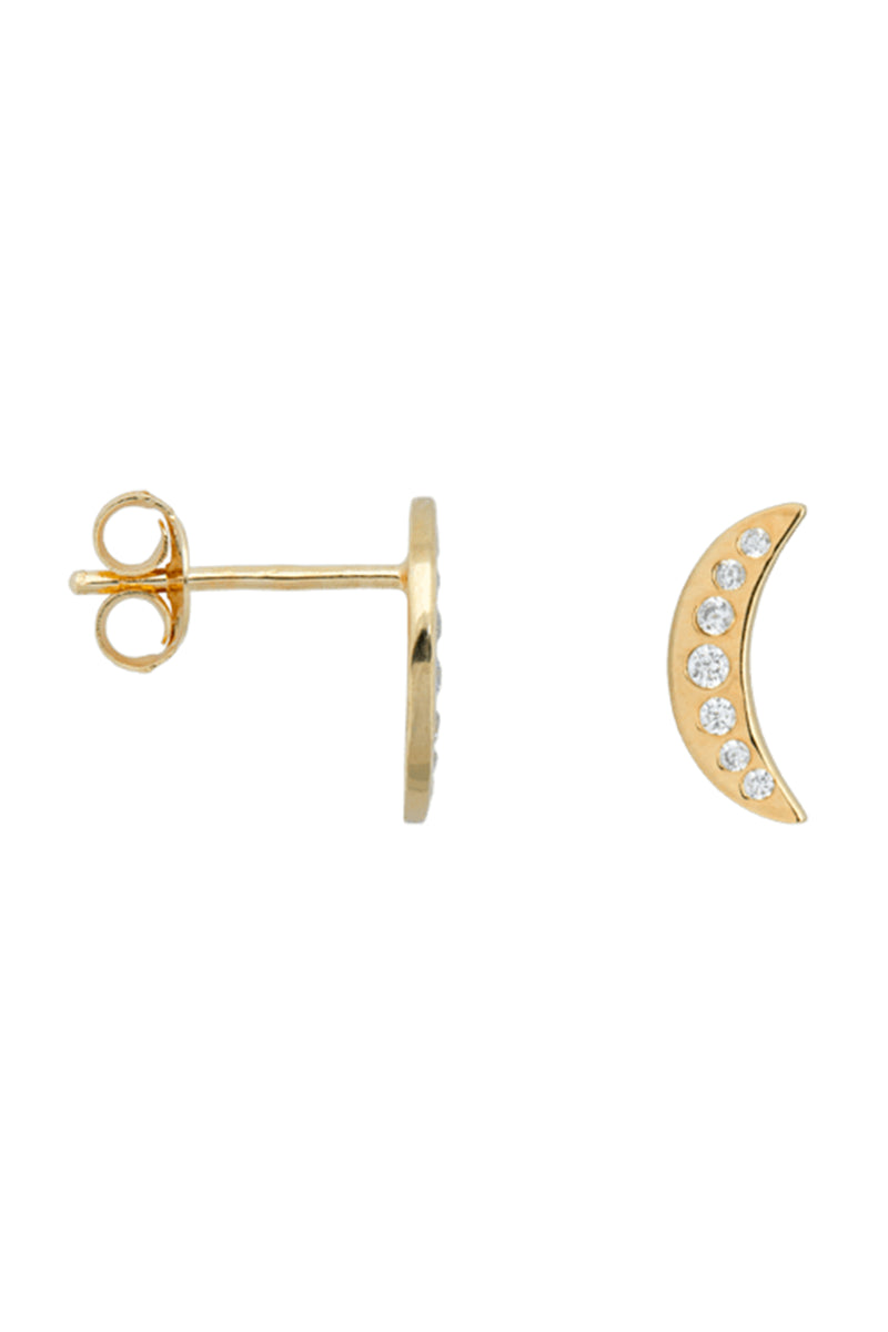 Anna + Nina Single Nightfall White Gold Stud - The Mercantile London