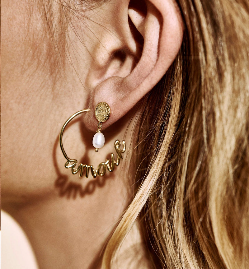 Anna + Nina Single Pearl Silver Serpent Earring