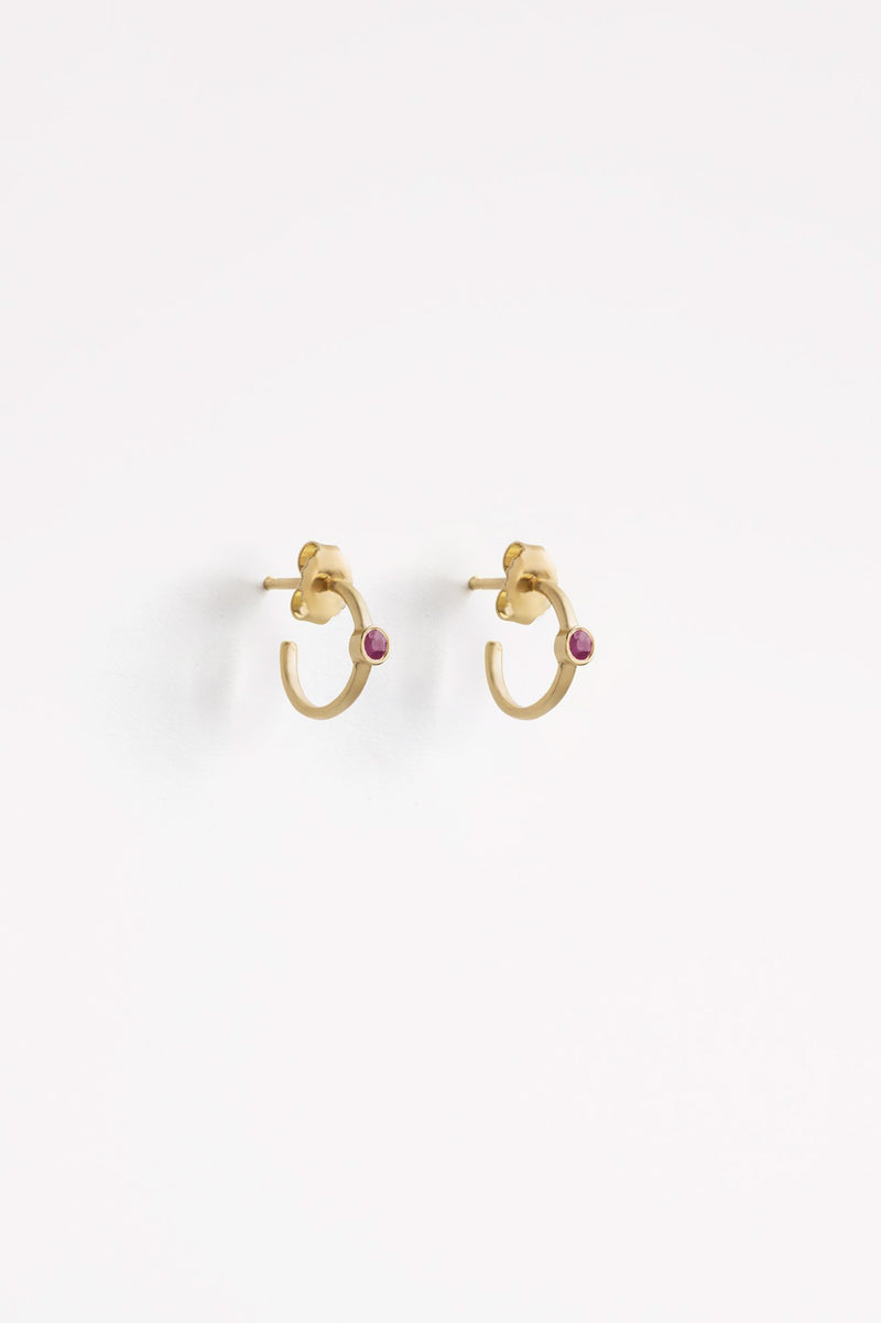 SS21 Wanderlust Astrea Petite Hoop Ruby Earring - The Mercantile London