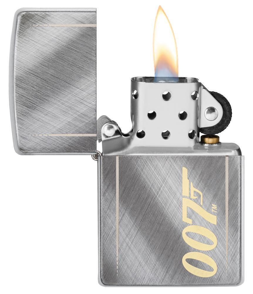 James Bond 007 Zippo Lighter - Stainless Silver & Gold Logo Case