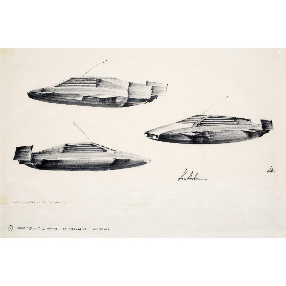 Ken Adam Lotus Esprit Submarine Art Print - Numbered Edition (Unframed)