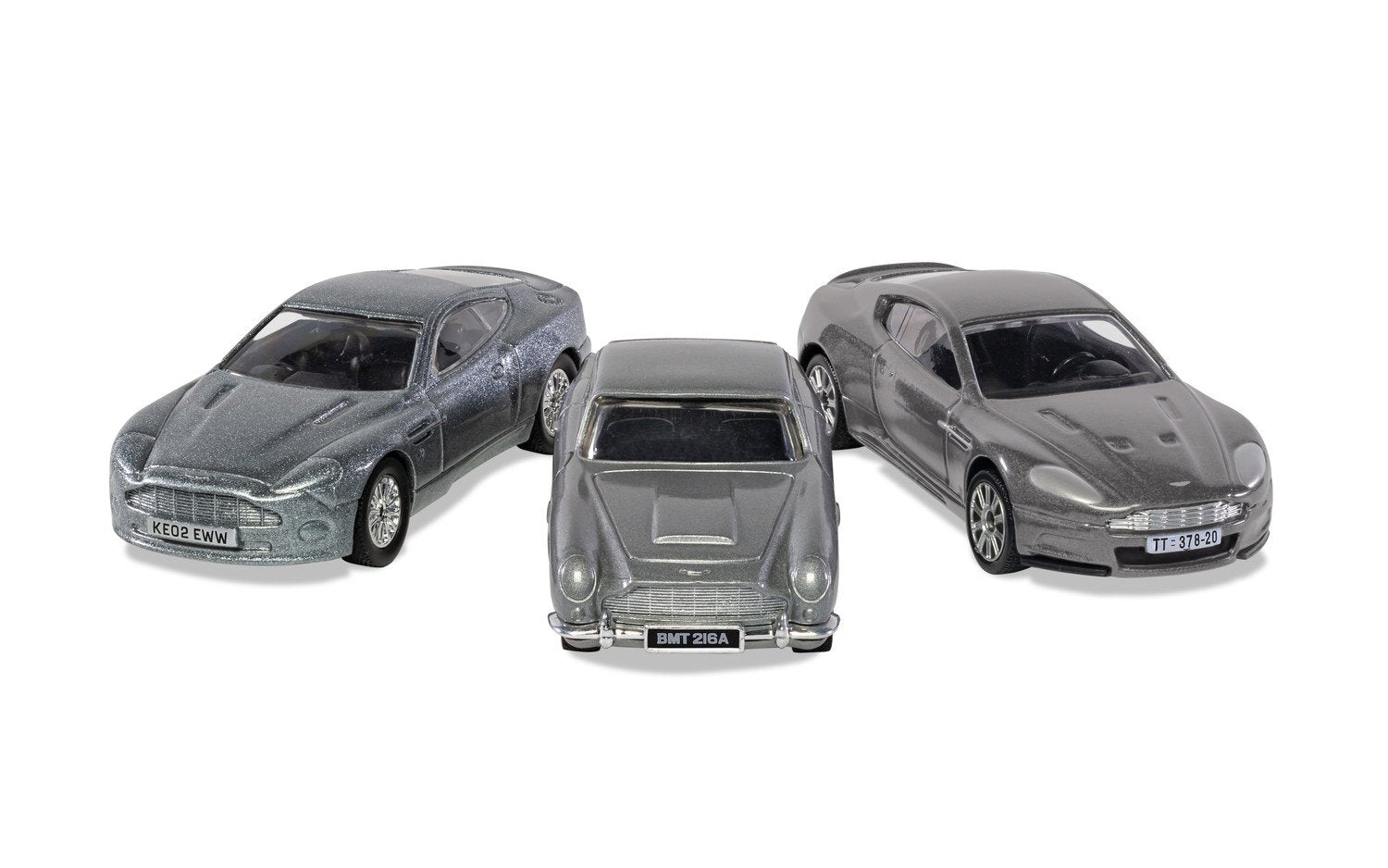 James Bond Aston Martin Model Car Trio - DB5, V12 Vanquish & DBS - By Corgi