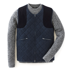 Lava Blue Quilted Cashmere Gilet - For Your Eyes Only Limited Edition By N.Peal