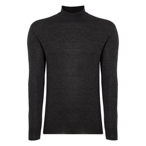 Charcoal Cashmere/Silk Mock Turtleneck Sweater - Spectre Limited Edition By N.Peal
