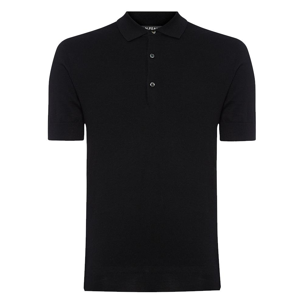 Black Cashmere/Silk Polo Shirt-  Goldfinger Limited Edition By N.Peal