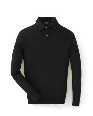 Black Cashmere/Silk V Neck Sweater - Goldfinger Limited Edition By N.Peal