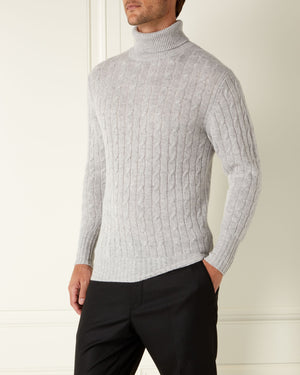 Fumo Grey Cashmere Roll Neck Sweater - Spectre Limited Edition By N.Peal