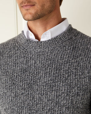 Grey Marl Chunky Cashmere/Merino Sweater - For Your Eyes Only Limited Edition By N.Peal