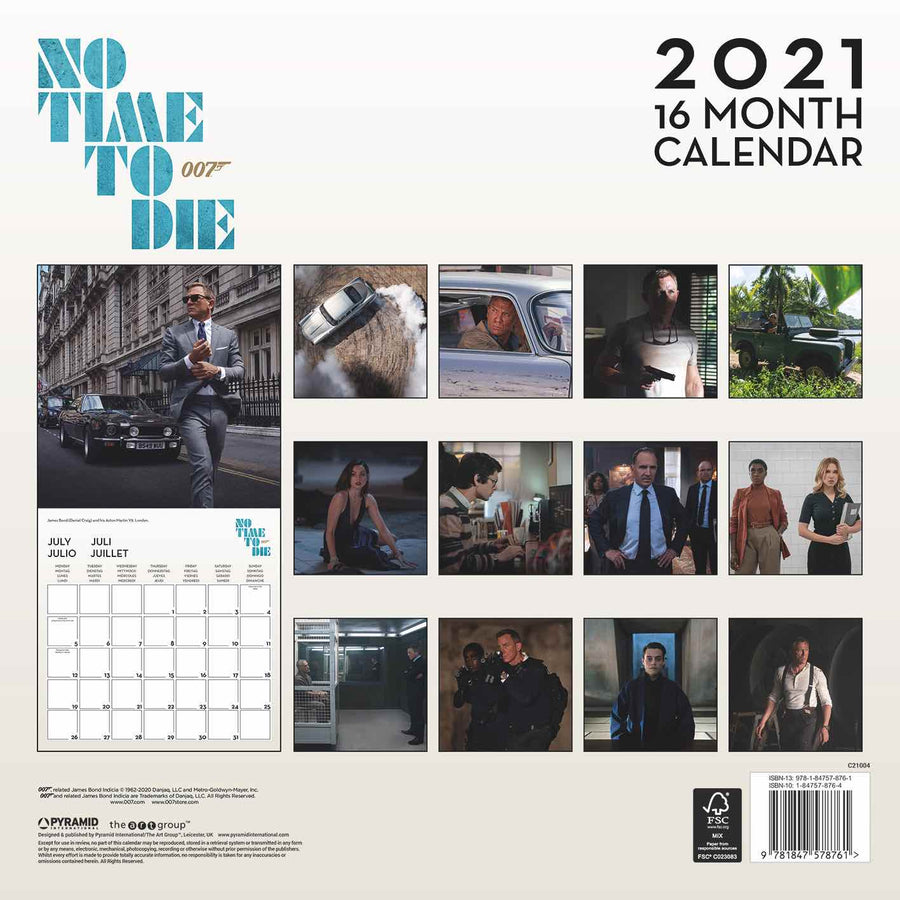 007 James Bond 16 Month Calendar 2021 - 007STORE