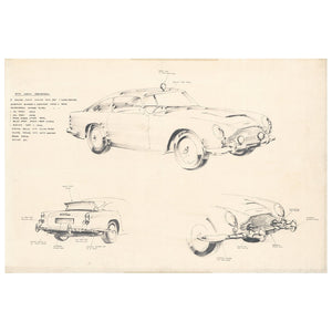 Ken Adam DB5 Concept Sketch Art Print - Numbered Edition (Unframed)