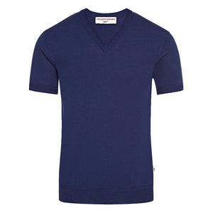 Deep Blue V Neck Silk T-Shirt - For Your Eyes Only Edition - By Orlebar Brown