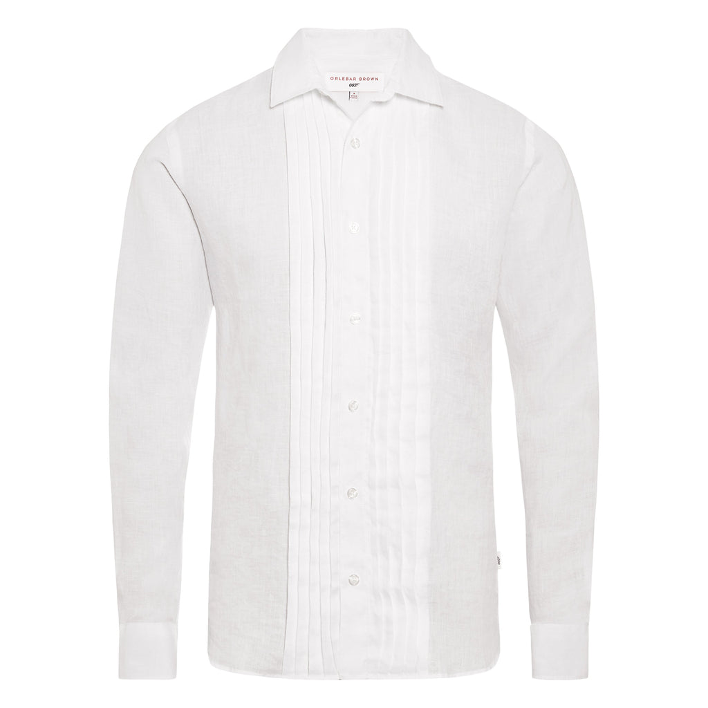 White Linen Dress Shirt - On Her Majesty's Secret Service Edition - By Orlebar Brown