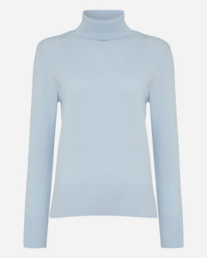 Women's Blue Cashmere Roll Neck Sweater - Tatiana Romanova Edition - By N. Peal