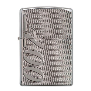 James Bond 007 Zippo Lighter - Weave-Texture Polished Chrome Case