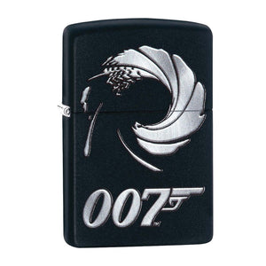 James Bond 007 Zippo Lighter - Black Gun Barrel Logo Case