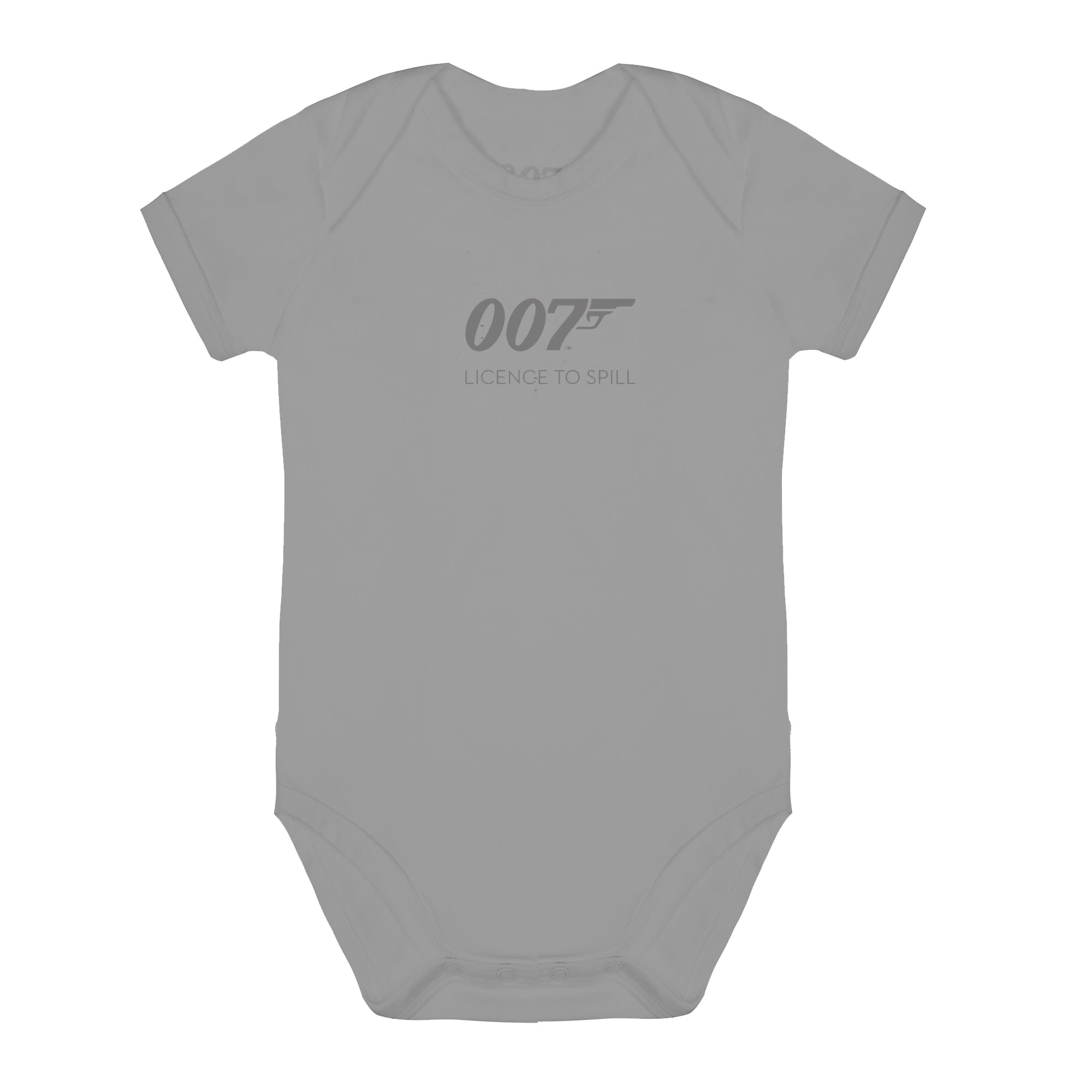 007 Licence To Spill Grey Marl Baby Bodysuit